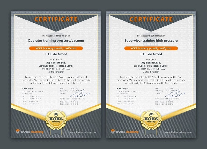 koks usa academy certification certificate courses vacuum high pressure